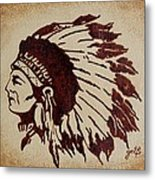 Indian Wise Chief Coffee Painting Metal Print
