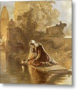 Indian Woman Floating Lamps Metal Print
