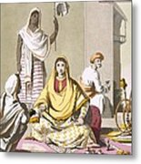 Indian Woman In Her Finery, With Guests Metal Print