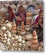 Indian Women Selling Pottery Metal Print