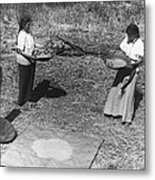 Indian Women Winnowing Wheat Metal Print