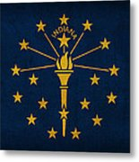 Indiana State Flag Art On Worn Canvas Metal Print