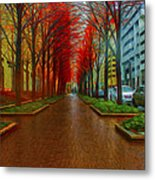 Indianapolis Autumn Trees Oil Metal Print by David Haskett