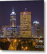 Indianapolis Night Skyline Echo Metal Print