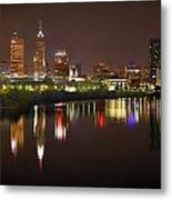 Indianapolis Skyline At Night Indy Downtown Color Panorama Metal Print