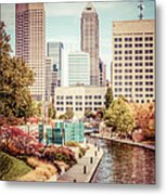 Indianapolis Skyline Old Retro Picture Metal Print