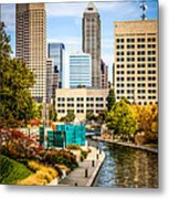 Indianapolis Skyline Picture Of Canal Walk In Autumn Metal Print