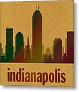 Indianapolis Skyline Watercolor On Parchment Metal Print