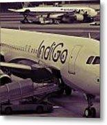 Indigo Aircraft Getting Ready In Changi Airport Metal Print