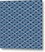 Indigo And White Small Diamonds- Pattern Metal Print