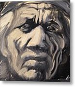 Indio Indian Black And White Oil Painting Metal Print