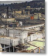 Industrial Area Along River Panorama Metal Print