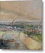 Industrial Landscape In The Blanzy Coal Field Metal Print by Ignace Francois Bonhomme
