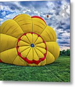 Inflating The Hot Air Balloon Metal Print