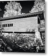 Infrared Covered Bridge Metal Print
