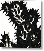 Ink Painting Of Opuntia Cactus Metal Print