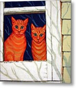 Orange Cats Looking Out Window Metal Print