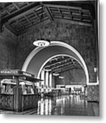 Inside Los Angeles Union Station In Black And White Metal Print