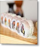 Inside Out Tuna Sushi Metal Print