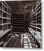 Inside Storage Building Sepia 1 Metal Print