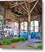 Inside The Old Train Roundhouse At Bayshore Near San Francisco And The Cow Palace II Metal Print