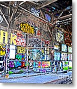 Inside The Old Train Roundhouse At Bayshore Near San Francisco And The Cow Palace V  Metal Print