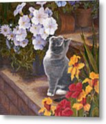 Inspecting The Blooms Metal Print by Evie Cook