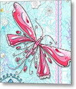 Inspirational Dragonfly Floral Fleur De Lis Art Sweet Charity By Megan Duncanson Metal Print