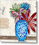Inspirational Floral Dragonfly Painting Flower Vase With Quote By Megan Duncanson Metal Print