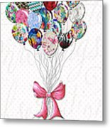 Inspirational Uplifting Floral Balloon Art A Bouquet Of Balloons Just For You By Megan Duncanson Metal Print