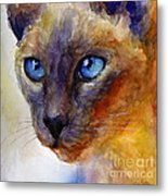 Intense Siamese Cat Painting Print 2 Metal Print by Svetlana Novikova