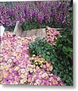 Interior Decorations Butterfly Gardens Vegas Golden Yellow Purple Flowers Metal Print