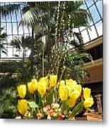 Interior Decorations Butterfly Gardens Vegas Golden Yellow Tulip Flowers Metal Print