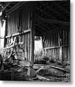 Interior Of Barn In Plainville Indiana Metal Print by Julie Dant