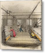 Interior Of Cotton Mill With Man Metal Print