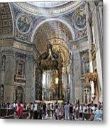 Interior Of St Peter's Dome. Vatican City. Rome. Lazio. Italy. Europe Metal Print by Bernard Jaubert