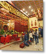 Interior Of Thien Hau Temple A Taoist Temple In Chinatown Of Los Angeles Metal Print