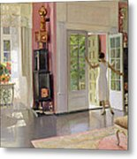 Interior Oil On Canvas Metal Print