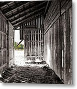Interiors In Black And White Metal Print