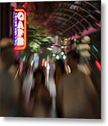 International Cafe Neon Sign And Street Scene At Night Santa Monica Ca Landscape Metal Print