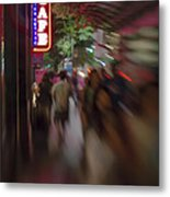 International Cafe Neon Sign And Street Scene At Night Santa Monica Ca Portrait Metal Print
