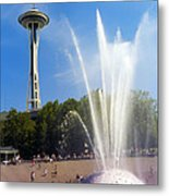 International Fountain And Space Needle Metal Print