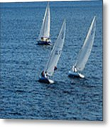 Into The Wind - Crisp White Sails On Blue Metal Print