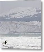 Into The Winter Surf Metal Print