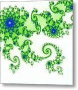 Intricate Green Blue Fractal Based On Julia Set Metal Print