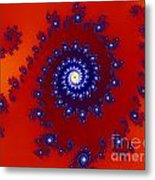 Intricate Red Blue Fractal Based On Julia Set Metal Print
