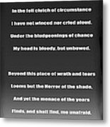 Invictus By William Ernest Henley Metal Print by Daniel Hagerman