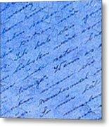 Iphone Case Blue Handwriging Metal Print