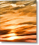Iphone Sunset Digital Paint Metal Print