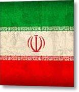 Iran Flag Vintage Distressed Finish Metal Print